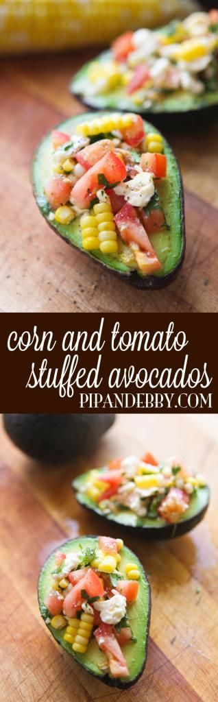 Corn and Tomato Stuffed Avocados - Do you love avocados like I do? Here's a healthy way to enjoy the delicious avocado, mixed with other delicious veggies!