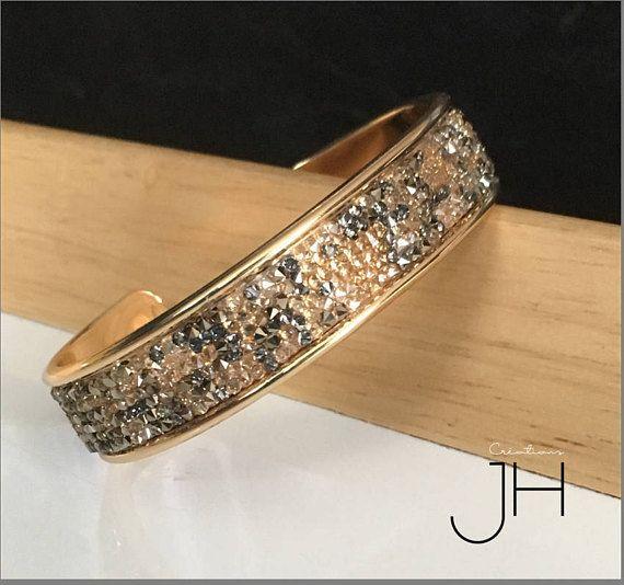 Bracelet jonc en laiton OR / Bande de cristaux Swarovski /