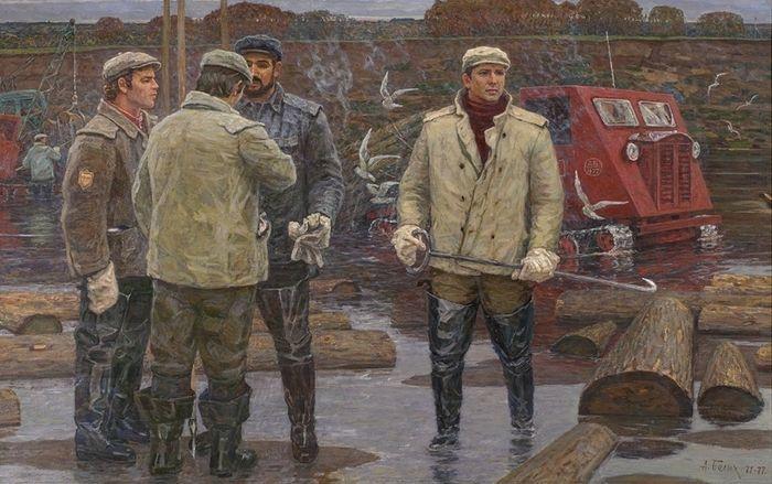 Осенние будни сплава. Реку чистят (1971-1977). Белых Алексей Павлович (03.06.1923)