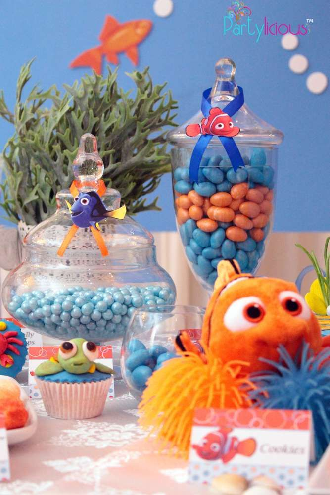 Candy jars at a Finding Nemo birthday party! See more party planning ideas at CatchMyParty.com!