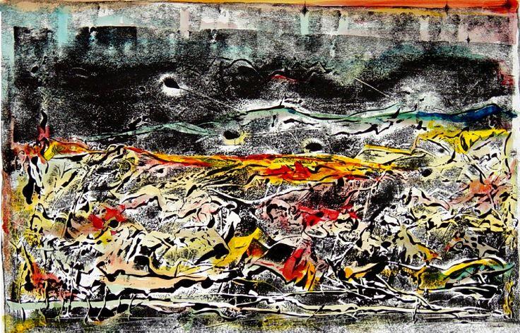 """Gabriele Camilli - Title : """"Amore e violenza"""" - Personal technique: Cromomonotipo su carta rosa spina  - Dimension : cm 70 x 40 - Year : 2005"""