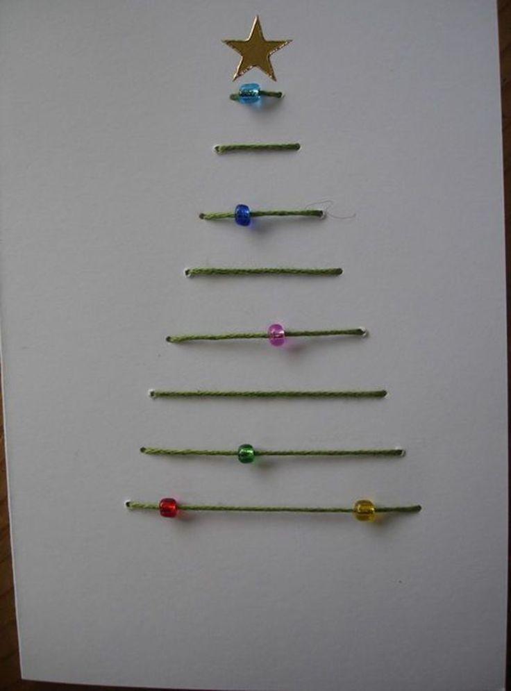Julekort med juletræ af grøn snor med glasperler som julekugler