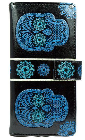 Shagwear portafoglio per giovani donne , Large Purse : Diversi colori e design: (teschio nero / Skull)