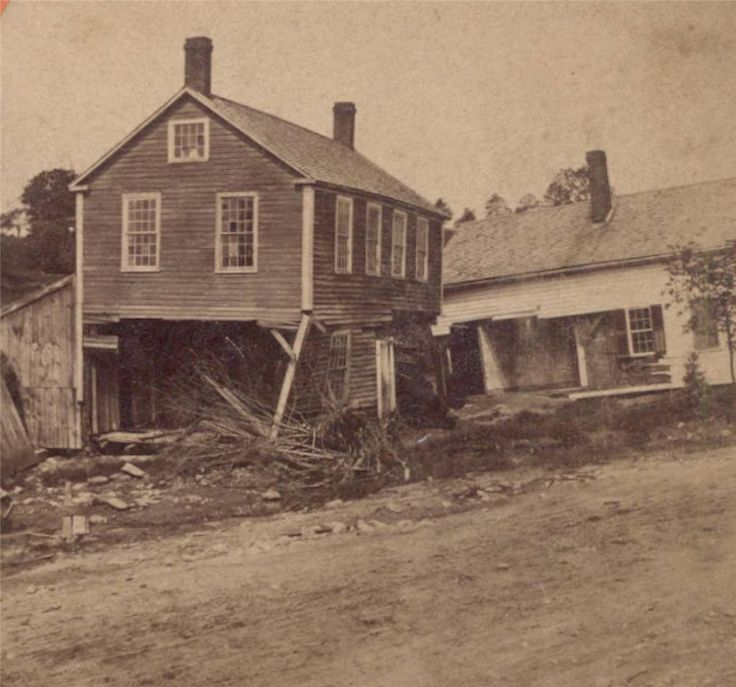1874 MILL RIVER FLOOD DAMAGE HAYDENVILLE Williamsburg MA PEN SHOP, HAMILTON HOME. Circa 1874 Stereoview; Mill River Flood Damaged Buildings. Period ink manuscript on the reverse identifies this view, Old Pen Shop and Hamilton House - Haydenville - 233 .