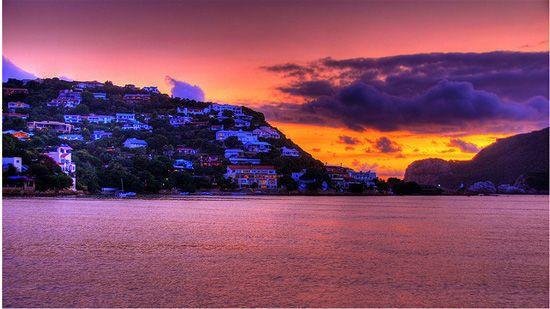 Knysna Heads in sunset