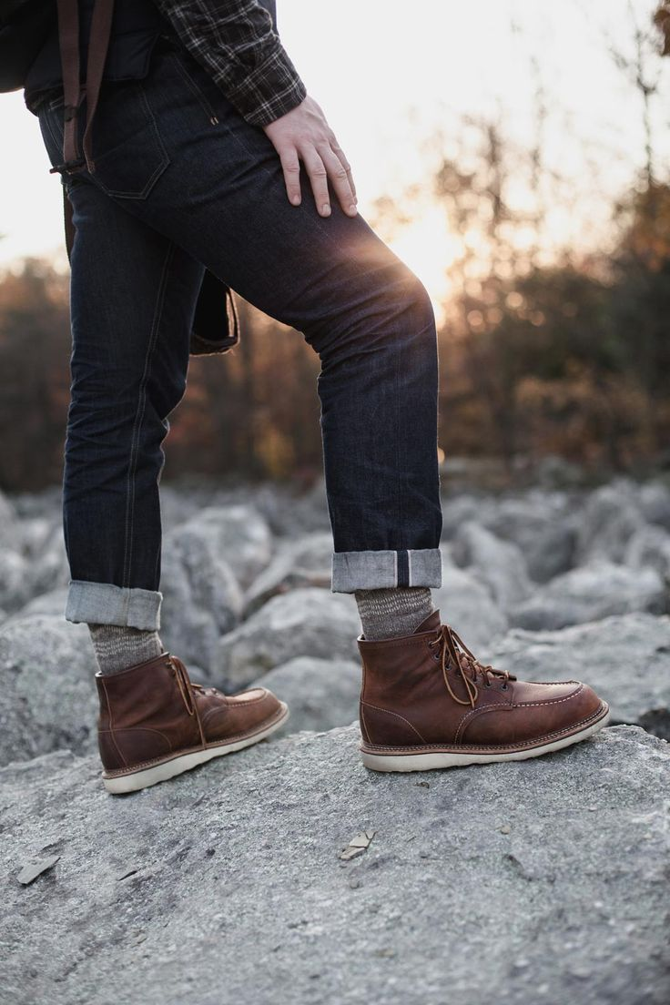 The bitter winter weather calls for a pit of rugged & stylish Red Wing moc toe boots.