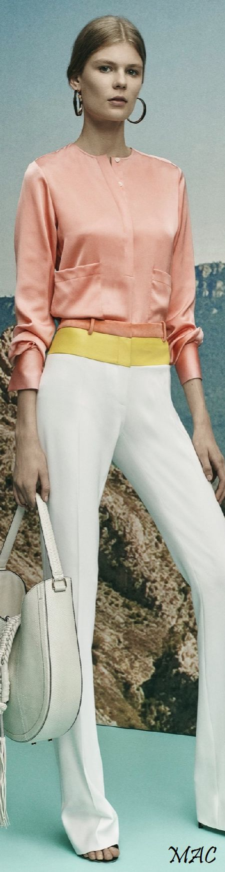 Altuzarra Resort 16: coral satin shirt, white pants with color-blocked.