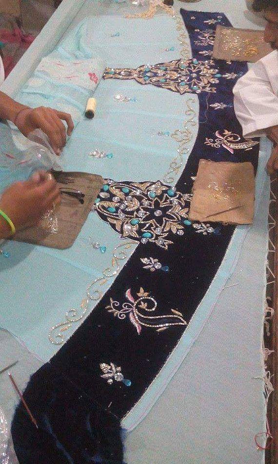 Blauwe Maxi Dress-Pakistaanse bruiloft formele Chiffon met