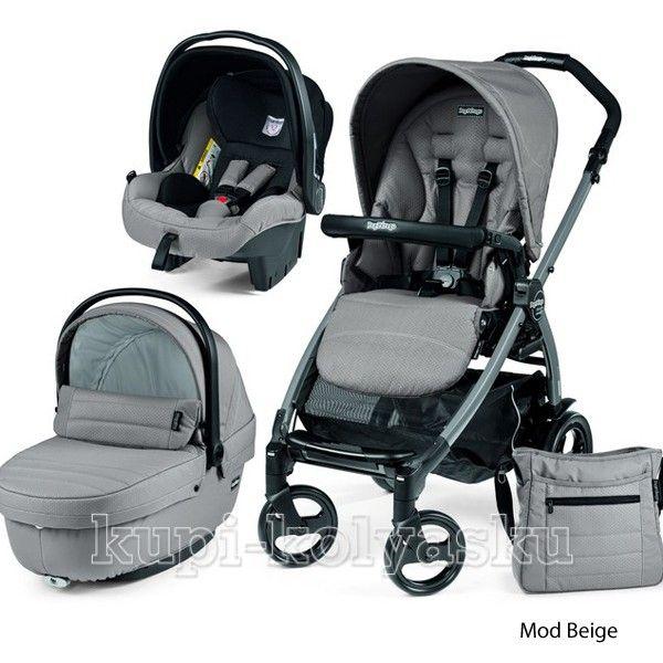 Детская коляска 3 в 1 Peg-Perego Book Plus  & Modular (Пег Перего) mod beige - бежево-серый