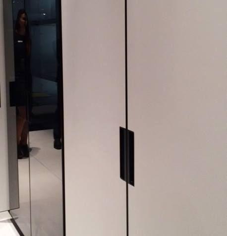 Black frames around doors for kitchen cabinets, bringing back Bauhaus times #Eurocucina