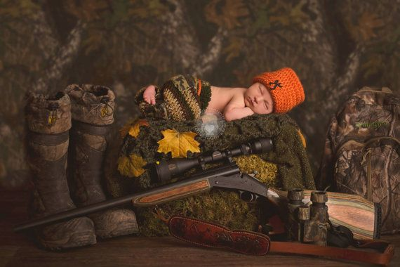 Newborn Hunting Set  - Orange Beanie- Camo Pants-Camo Netting-Tracks - Baby Boy-Photo Prop on Etsy, $65.00