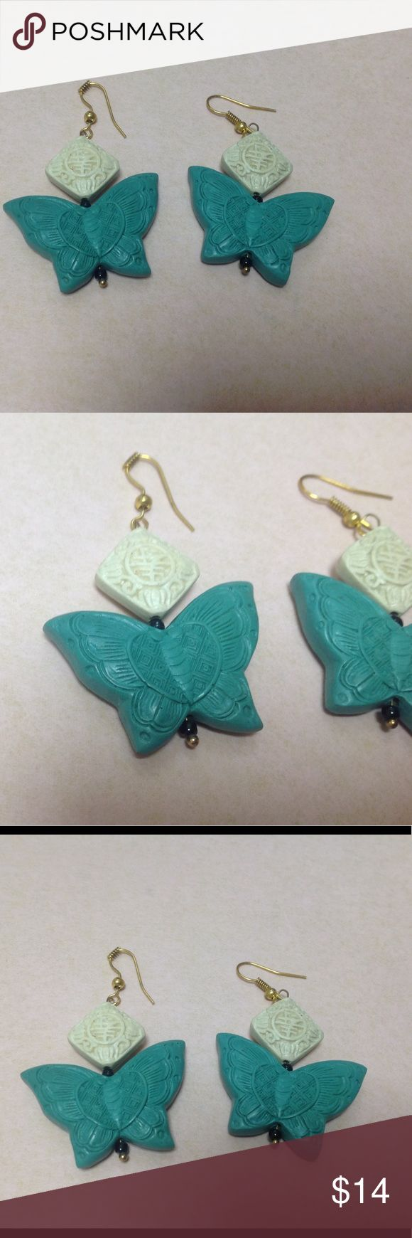 Reproduction Cinnabar Butterfly Earrings Excellent condition, large earrings Jewelry Earrings