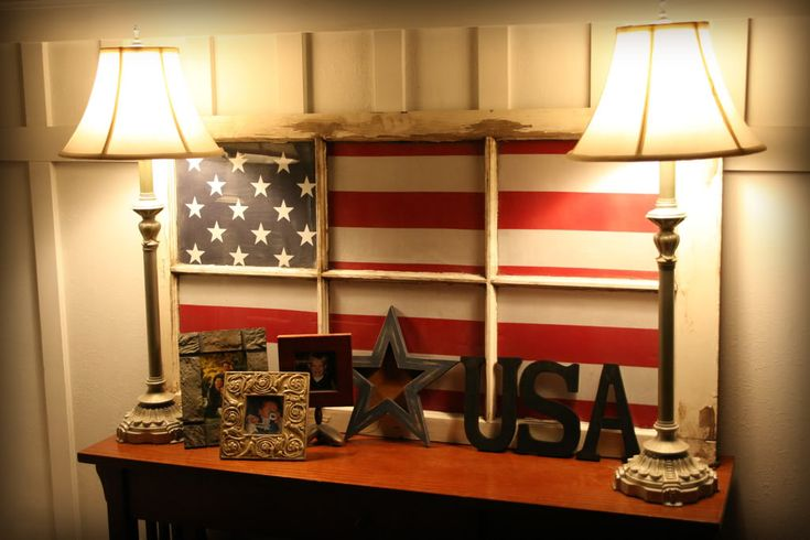Old Glory window - painted window...love it,  I have done on a window with no grids