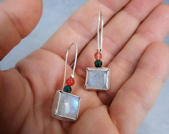 Sterling Silver Square Moonstone Earrings - Handcrafted Moonstone Earrings with Fire Agate