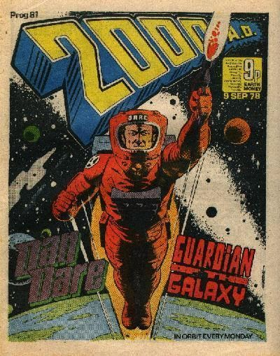 2000AD Prog #81 This was a rebooted Dan Dare in the wake of the big explosion of sci fi movies and TV shows in '77. I see influences of Space 1999 and Star Wars in this series.