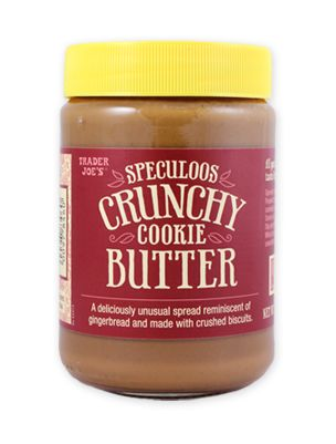 Crunchy Cookie Butter from Trader Joe's.  Spread it on toast, bagels, pancakes or waffles. Use it as a dip for hunks of dark chocolate or pretzels or Speculoos Cookies or (gasp!) veggies like carrots or celery. Or keep it really simple and just use it as a dip for a spoon.