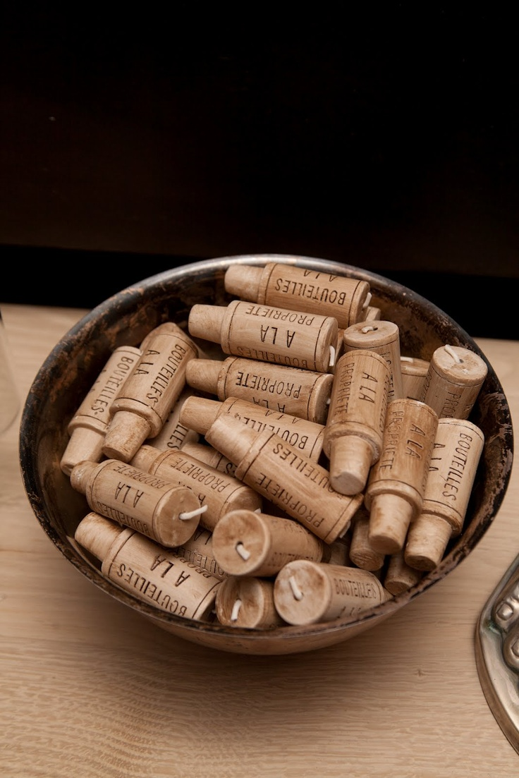 Cork candles for wine bottles.  The New Victorian Ruralist