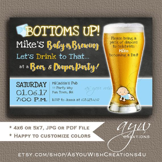 Beer and Diaper Shower Invitation for Man Shower Bottoms Up Beer and Diaper Party Invites Boy Invitations Beer and Diaper Party Man Shower