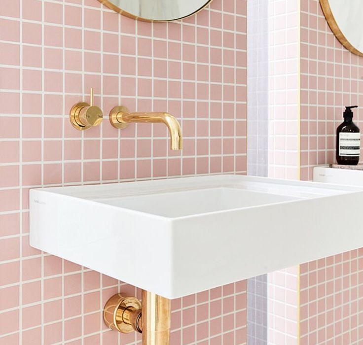 pale pink bathroom accessories. Pale pink square bathroom tiles and gold taps 355 best Bathrooms images on Pinterest  Bathroom designs