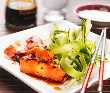 Sugen på lax? Vill du dessutom ha en japansk touch på laxen så ska du testa Lax teriyaki. Nyttigt, gott och enkelt! Du tillagar laxen i ugnen och öser sedan på skedar av teriyakin - lätt som en plätt!