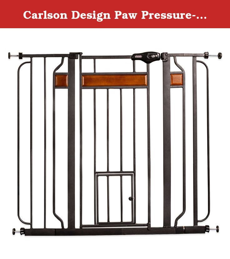 "Carlson Design Paw Pressure-Mount Extra-Tall Pet-Door Pet Gate in Black with Wood Trim. This Design Paw Pressure-Mount Extra-Tall Pet-Door Pet Gate limits large animals from roaming freely through your home while the built-in 10"" H x 7"" W pet door lets cats and other small animals through. It features elegant wood trim for a stylish look."