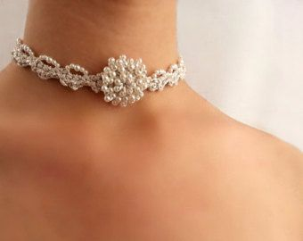 Victorian choker necklace Bridal necklace gold от DIDIcrochet