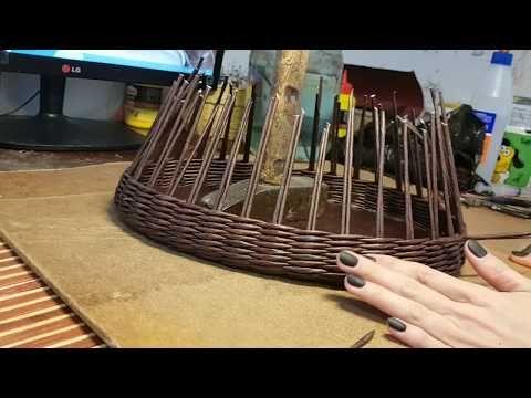 Мастер класс плетеного подноса с фанерным дном - YouTube