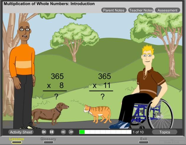 Math Live - is a fantastic site to use for upper elementary students that has a plethora of cartoon math tutorials on subjects like fractions, multiplication, area and perimeter, tessellations, probability, and a variety of other topics. The glossary section is an amazing collection of math concepts animated for more solid understanding.