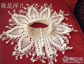 Tina's handicraft : crochet collar decorated with beads - pineapple st...