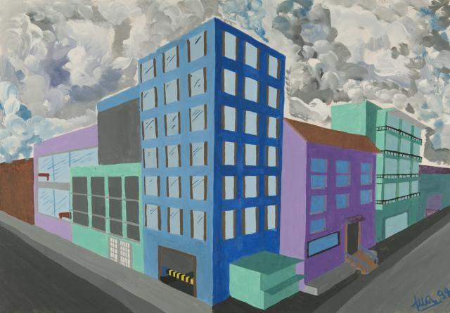 Perspektive mit 2 Fluchtpunkten Hochhäuser Fluchtpunkt