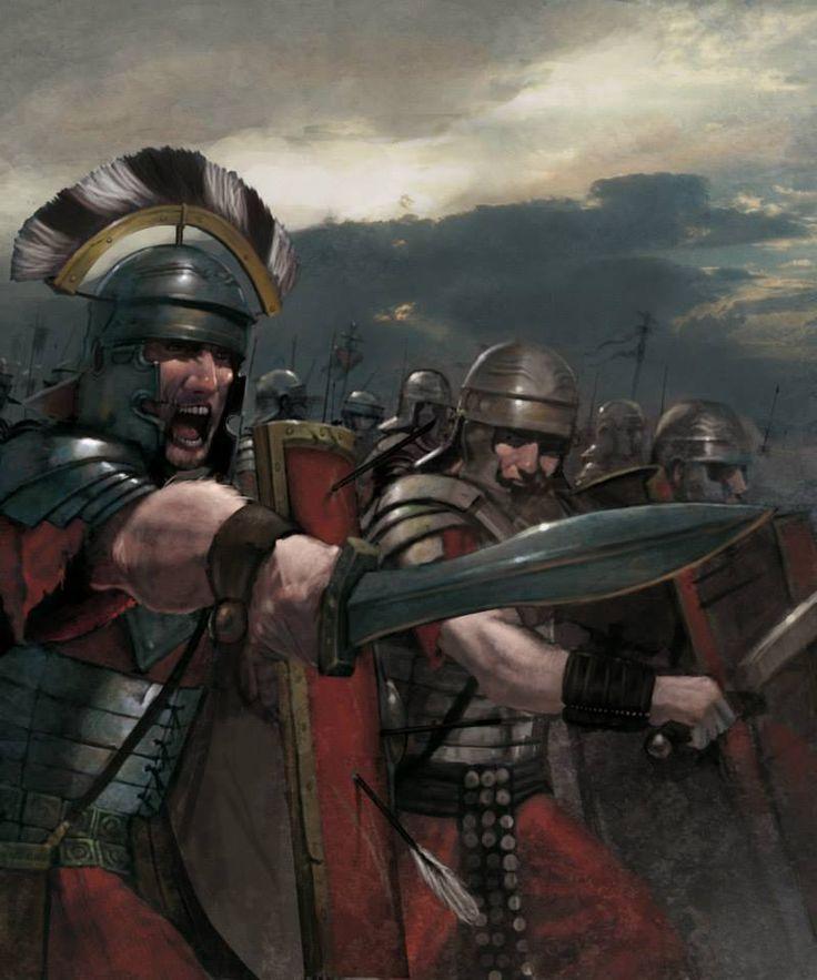 Roman centurion leading an attack.