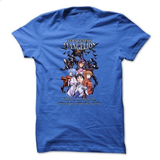 Anime T-Shirt - Neon Genesis Evangelion - Gods In His Heaven, Alls Right In The World - #sweats #design t shirts. SIMILAR ITEMS => https://www.sunfrog.com/Movies/Anime-T-Shirt--Neon-Genesis-Evangelion--Gods-In-His-Heaven-Alls-Right-In-The-World.html?60505