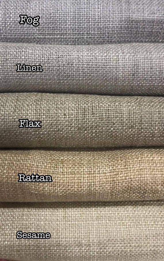Fabric Swatches Barister Prague 100 Linen Linen Drapery Bolster Pillow Relaxed Roman Shade