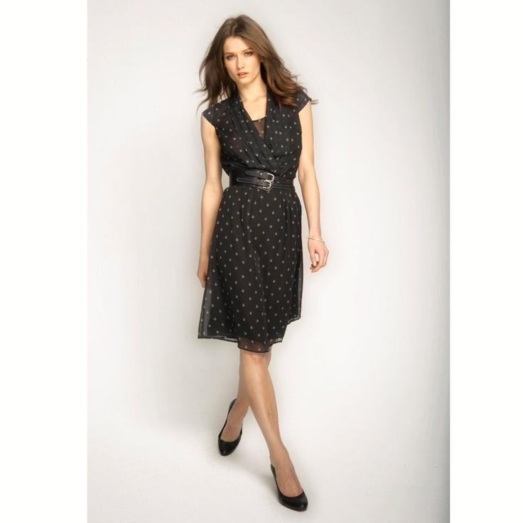 Wickelkleid mit originellen Minimotiven. Gr. 34 bis 48  Die Mini-Eulen verleihen dem Kleid eine ausgesprochen originelle Note.  Auch in uni Schwarz erhältlich.