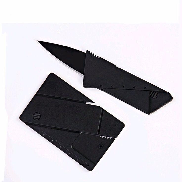 Hoja de acero inoxidable cuchillo plegable cuchillo de la tarjeta de crédito Monedero cuchillo de bolsillo cuchillos de supervivencia que acampa táctico mini herramientas de mano