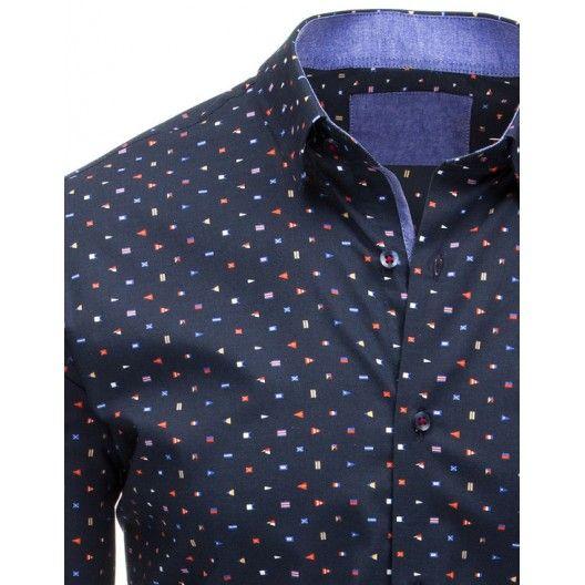 Elegantní tmavě modrá pánská košile s dlouhým rukávem a barevným vzorem - manozo.cz