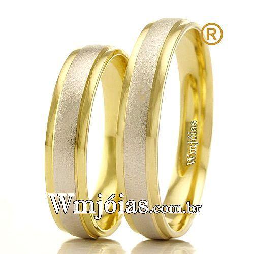 Alianças em ouro branco e amarelo 18k WM2370. Fabricação própria, Sedex GRÁTIS com seguro, garantia eterna e atendimento especializado.