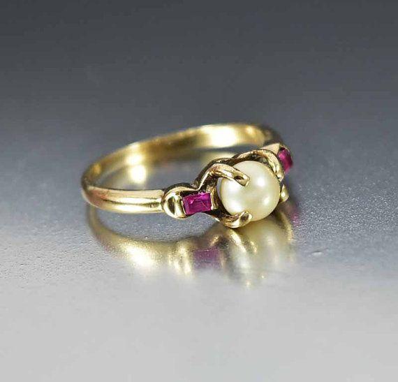 Antiguo perla anillo de rubíes, anillo Art Deco oro, anillo de la perla, anillo de compromiso alternativo, aniversario regalo anillo de promesa, bohemio anillo de apilamiento