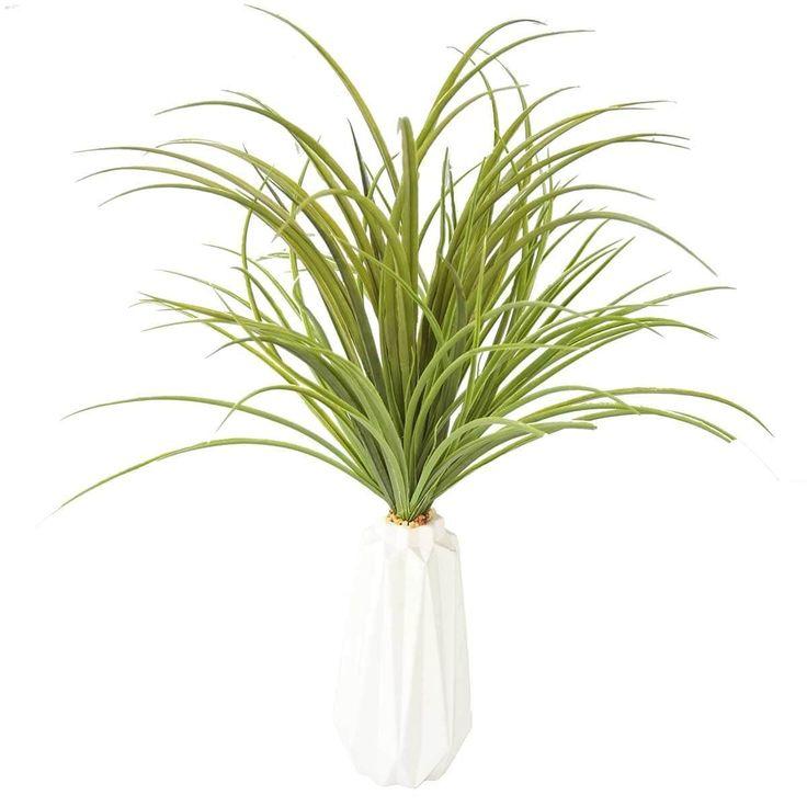 Vintage Home Plastic grass and onion grass in ceramic pot 18x18x17H (White, Bronze)
