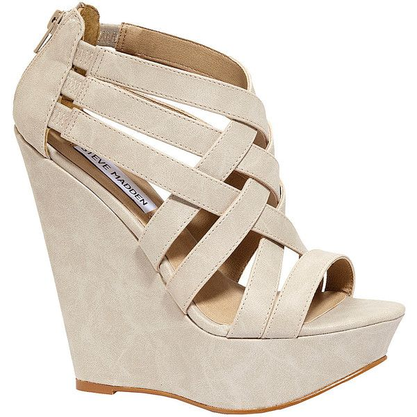 Steve Madden Xcess Wedge Sandals ($80) ❤ liked on Polyvore