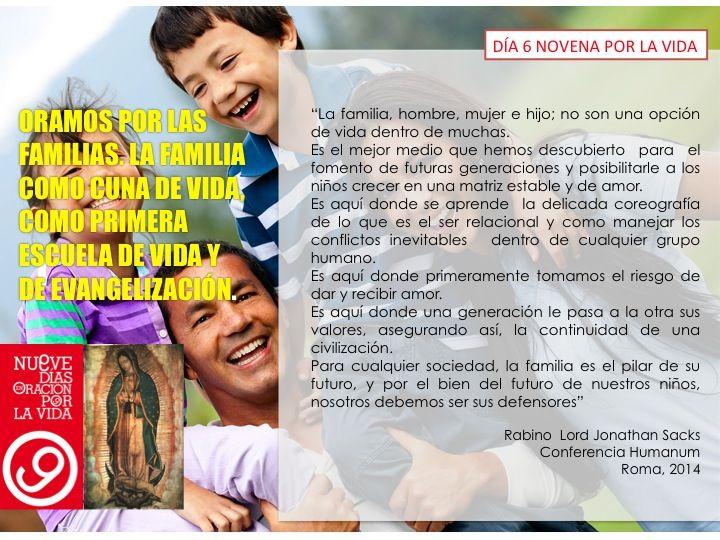 Día 6: Oramos por las familias. La familia como cuna de vida, como primera escuela de vida y de evangelización.