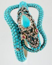 Serpent set with turquoise. A classic Victorian design, this bracelet was made around 1845.
