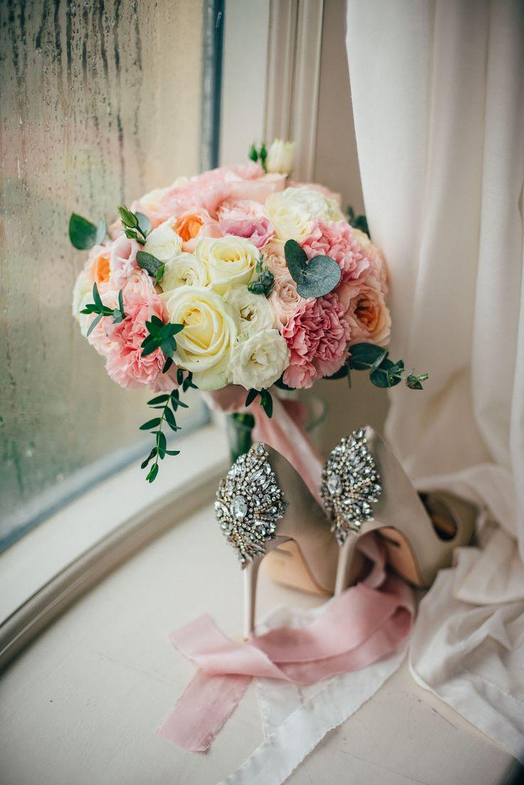 Tender bridal bouquet of David Austin roses, carnation, spray roses, eucalyptus, roses