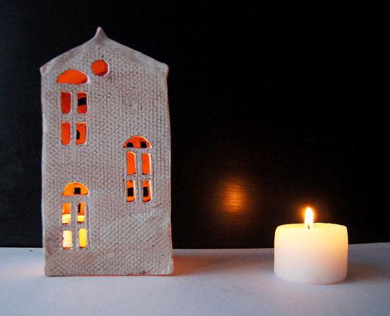 Mantel-Dekor-Kerze Halter-Keramik Haus-Kerze Herzstück-Tee Licht Halter-Geburtstagsgeschenk