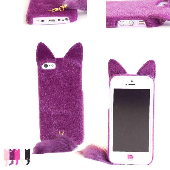 3D Girls Lovely Cute Smile Charming Plush Cat Ear Tail Case Cover Skin For Apple iPhone 5s 5 5G Gen Generation by GoodToBuy, $11.99