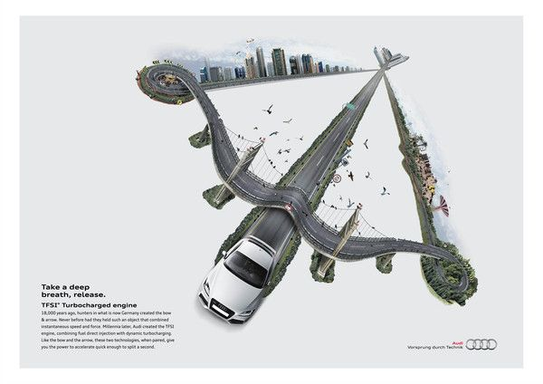 Love how Audi shows the speed of the car giving an implication of a plane.
