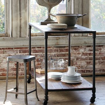 Reclaimed Elm Kitchen Island - traditional - kitchen islands and kitchen carts - atlanta - Iron Accents