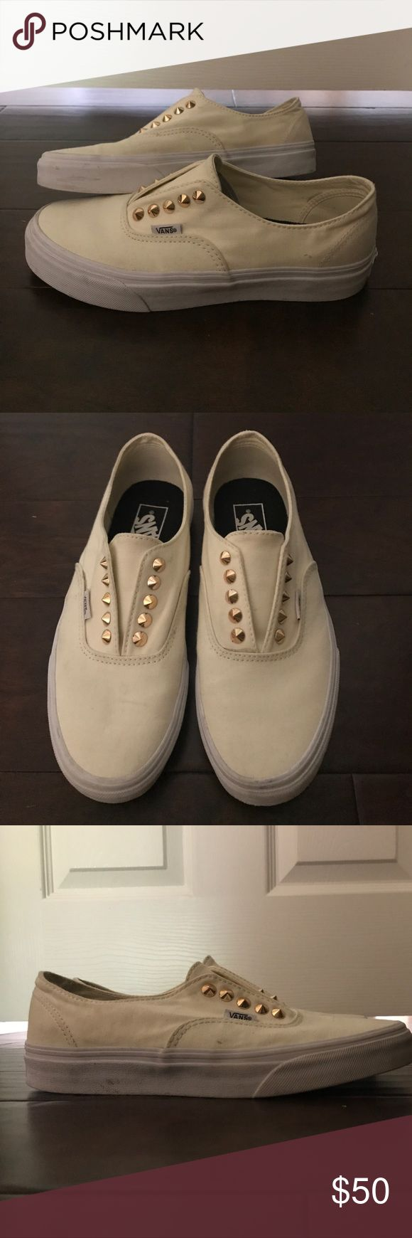 super cute studded vans cream and gold studded vans size 8.5. in very good shape, almost like brand new. Vans Shoes Sneakers