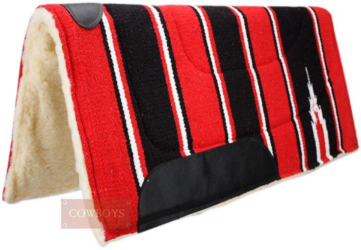 Manta para Sela de Cavalo Vermelha e Preta   Manta em algodão para Cavalo importada, com lã de carneiro sintética nas cores: branca, Vermelha e Preta.