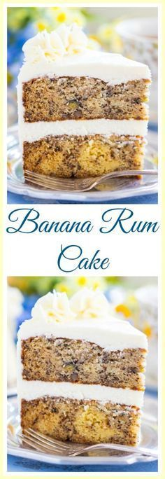 Two monster layers of moist, dense, rum-spiked banana cake, layered with tangy and sweet cream cheese buttercream! This Banana Rum Cake is a dream dessert for spring (or anytime)!